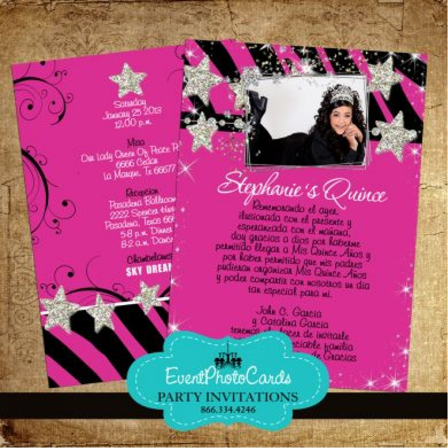 Sweet Home Paris Hot Pink Zebra With Stars Quinceanera Invites