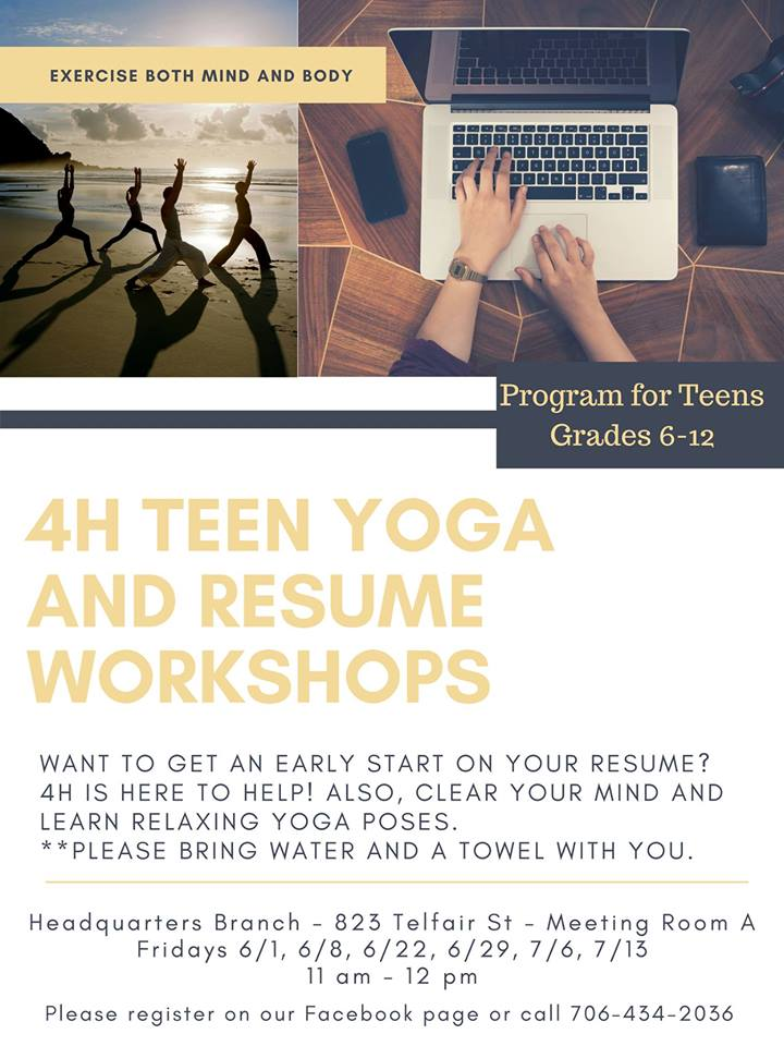 4H Yoga  Resume Workshop for Teens - resume workshop