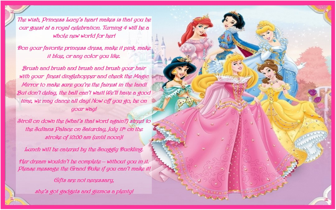 Disney Princess Birthday Party Ideas Invtations  Favors - events