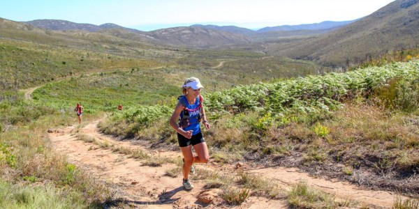 Danette Smith powering up the climb to the Attakwaskloof Neck as she ran to victory in the women's race at the 2016 Fairview Attakwas Trail.