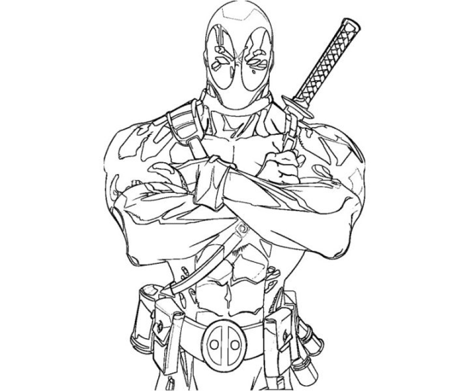 Deadpool free coloring pages