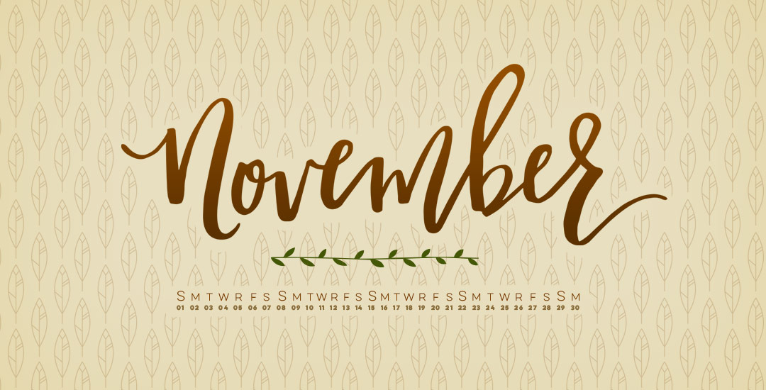Fall Leaves Watercolor Wallpaper Freebie Hand Lettered November Desktop Wallpapers
