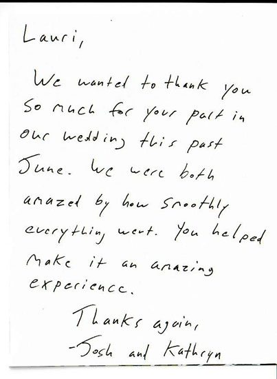 Personal Thank You Letters Everyday Details - NH Event Planner