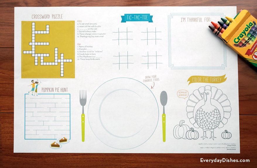 Printable Thanksgiving placemats - Everyday Dishes