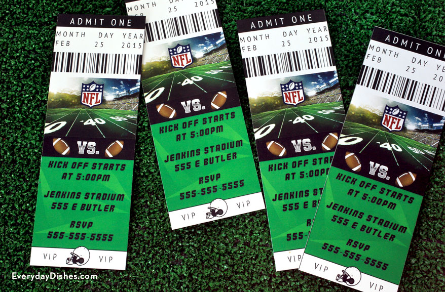 Football ticket invitations printable - Everyday Dishes  DIY