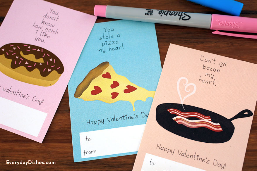 Printable food Valentine cards - Everyday Dishes  DIY