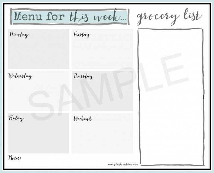 Weekly Menu Planner Printable - The Everyday Home
