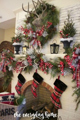 Tartan Plaid and Berry Christmas Fireplace