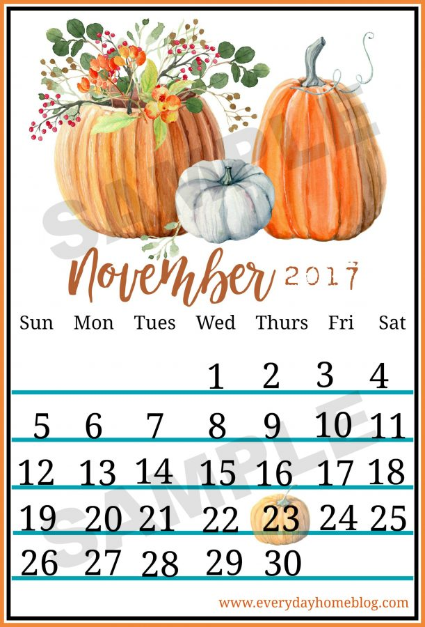November Fall Calendar Printable - The Everyday Home