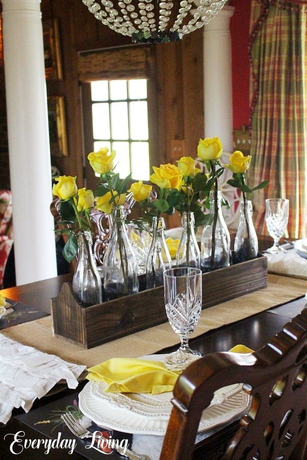 yellow roses tablescape
