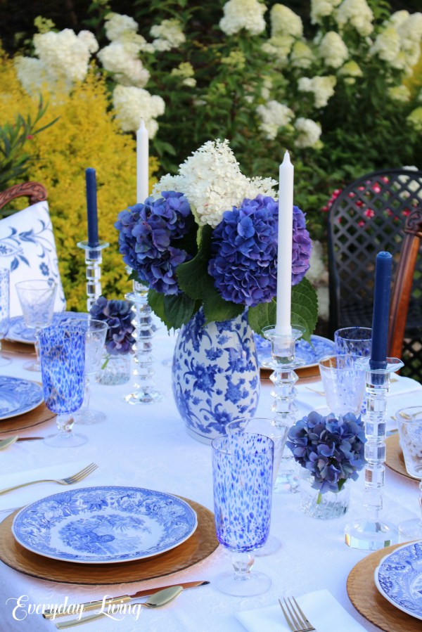blue and white tablescape