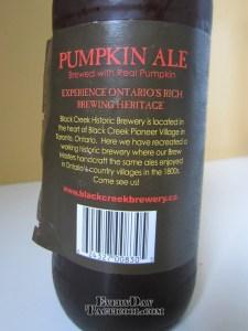 Black Creek Pumkin Ale back label
