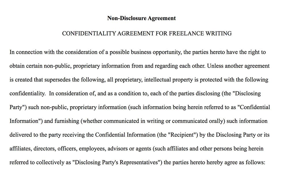 Confidentiality Agreement for Writers  Authors - EveryNDA - confidentiality agreement sample