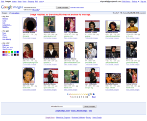 Michelle Obama Google image search screenshot.