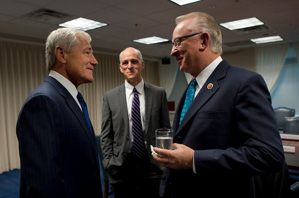Secretary of Defense Chuck Hagel and Drone Caucus and Armed Services Comittee boss - U.S. Congressman Buck McKeon - courtesy Chuck Hagel