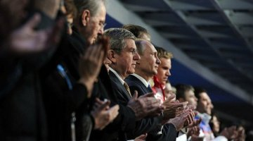 IOC President Thomas Back and Russian President Vladimir Putin at the closing ceremonies - Courtesy the President's Press Office