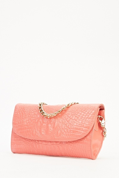 Night Bag Textured Clutch Night Bag - Coral Or Light Pink - Just £5