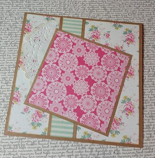 Then I removed my brown fancy mat and adhered the pink patterned layer as I had placed it.