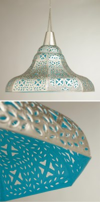 Oversized Punched Metal Pendant Lamp   Everything Turquoise