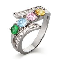 4 Stone CZ Bypass Birthstone Mother's Ring | Eve's Addiction