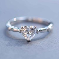 Sterling Silver Simple CZ Heart Promise Ring | Eve's ...