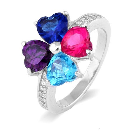 Custom 4 Stone Mother's Love Family Birthstone Ring