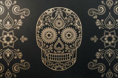 Macabre Wall Art – 'Day of the Dead' Skull Wallpaper – Eat Your Heart Out