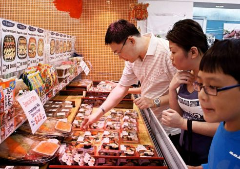 Shoppers at an Asian supermarket
