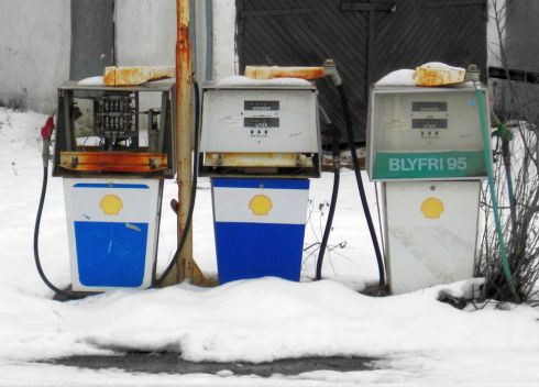 Old gas pumps at gas station