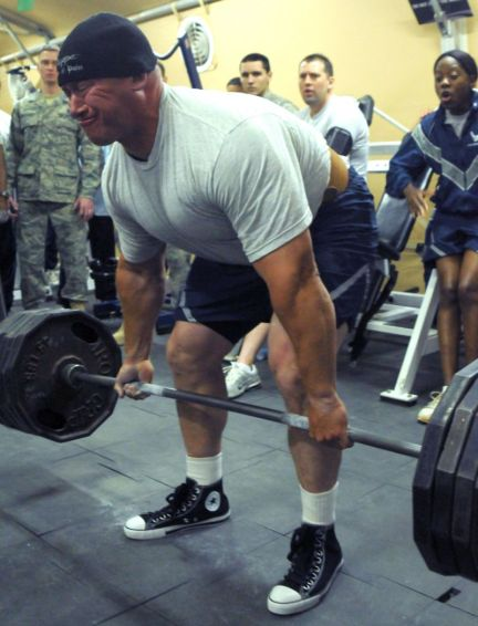 Man performing the deadlift exercise