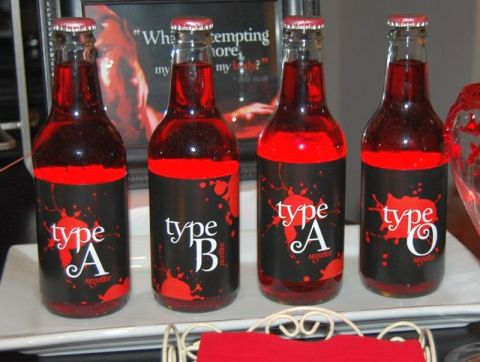 "Bottles of ""blood type"" soda"
