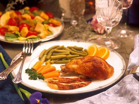 Plate with chicken breast and vegetables