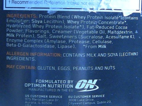 new on whey ingredient list