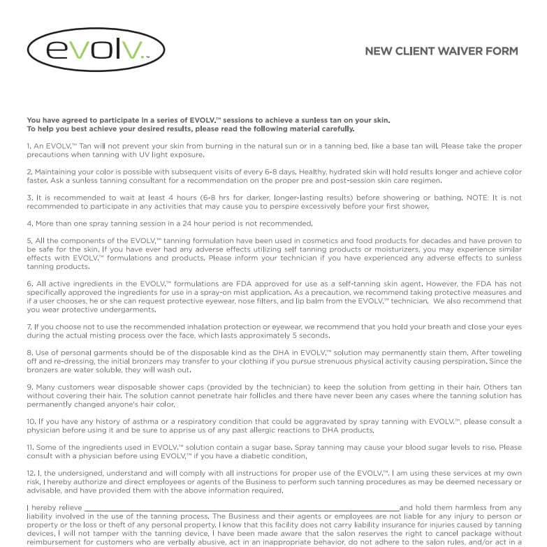 Client Consent Forms Evolv Tanning