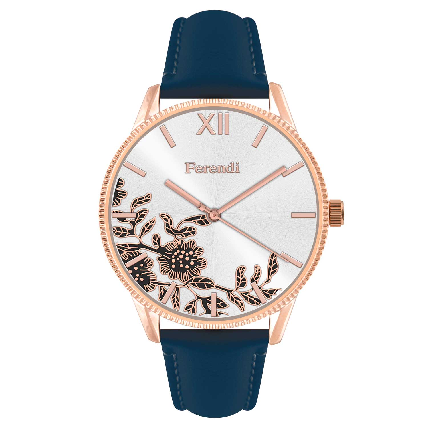 Leather Strap Rose Gold Watch Ferendi Watch 7160r 34 With Rose Gold Alloy Frame And Leather Strap