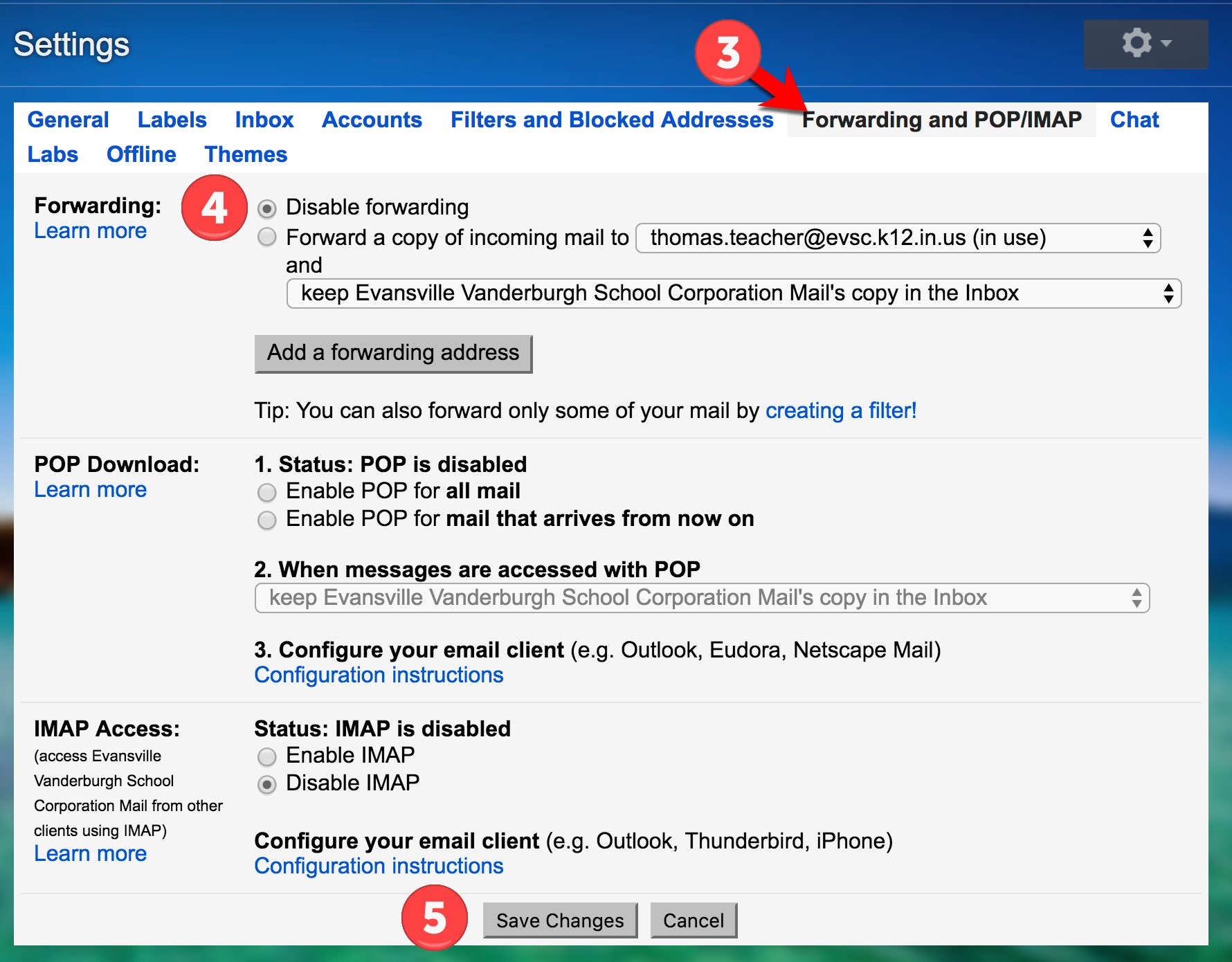 How to turn off forwarding in gmail