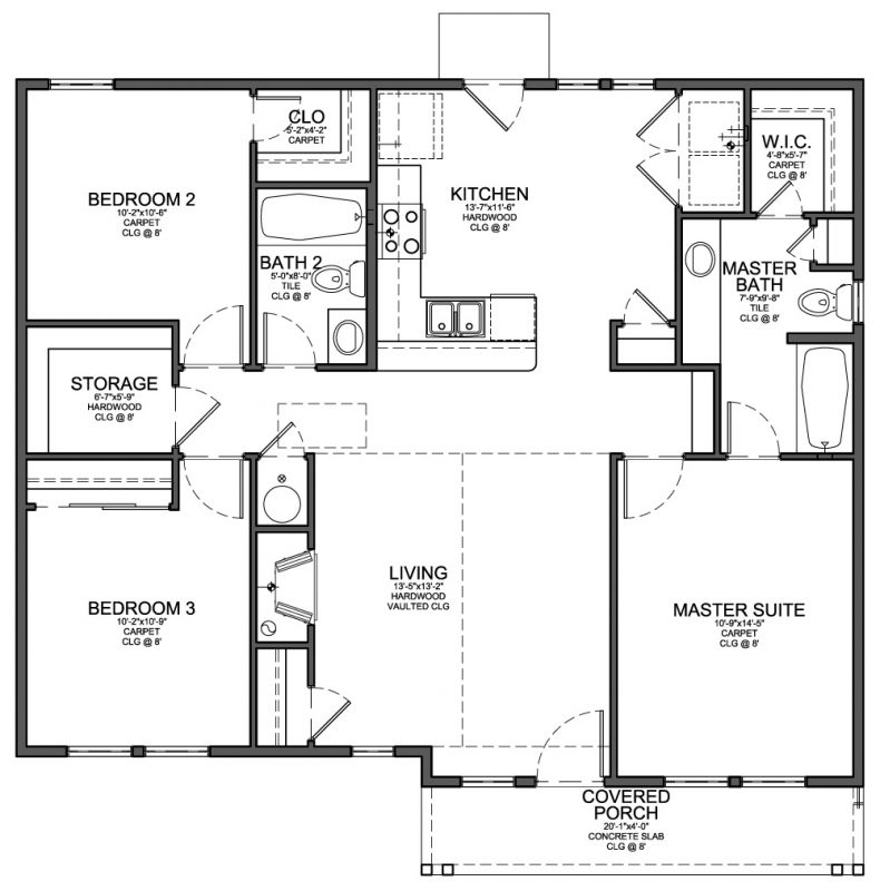 Floor Plan House Floor Plan For Small 1 200 Sf House With 3 Bedrooms And 2