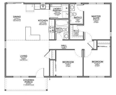 Floor Plan For Affordable 1100 Sf House With 3 Bedrooms