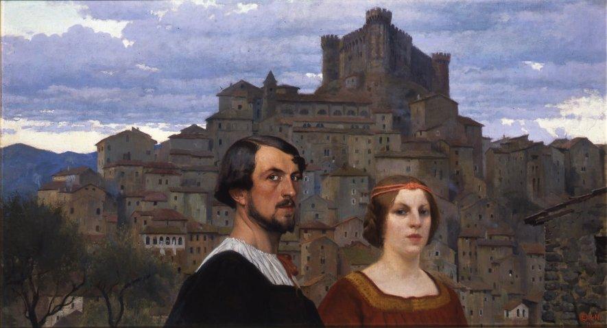 Edward Okuń - Autotortret z żoną na tle Anticoli-Corrado