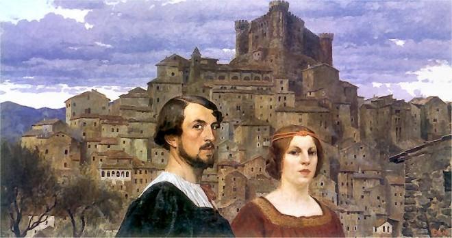 Edward Okuń - Autoportret z Żoną na tle Anticoli=Corrado