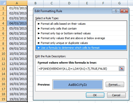 How to highlight first Monday of the month in Excel table Excel
