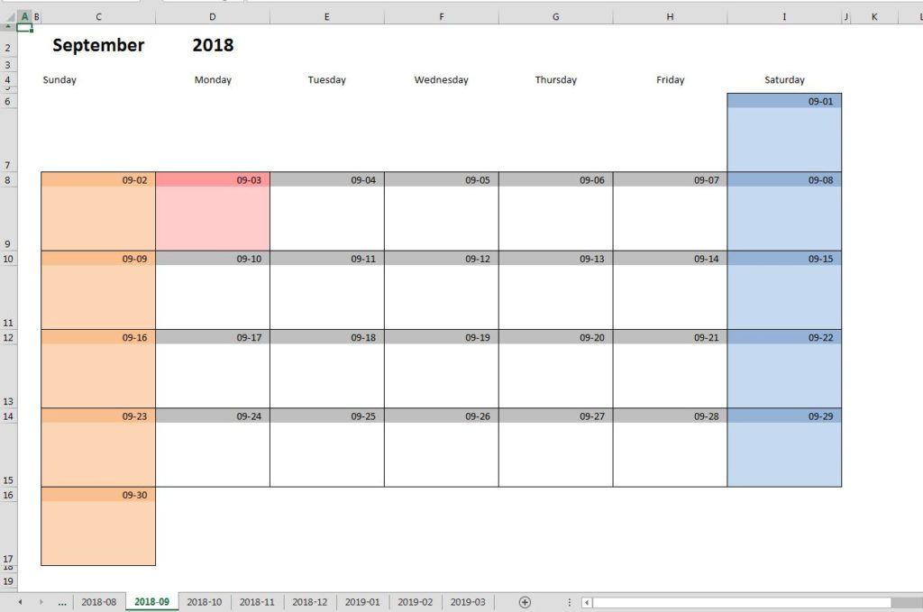 Printable monthly calendar template for Excel Excel-Malin - calendar template