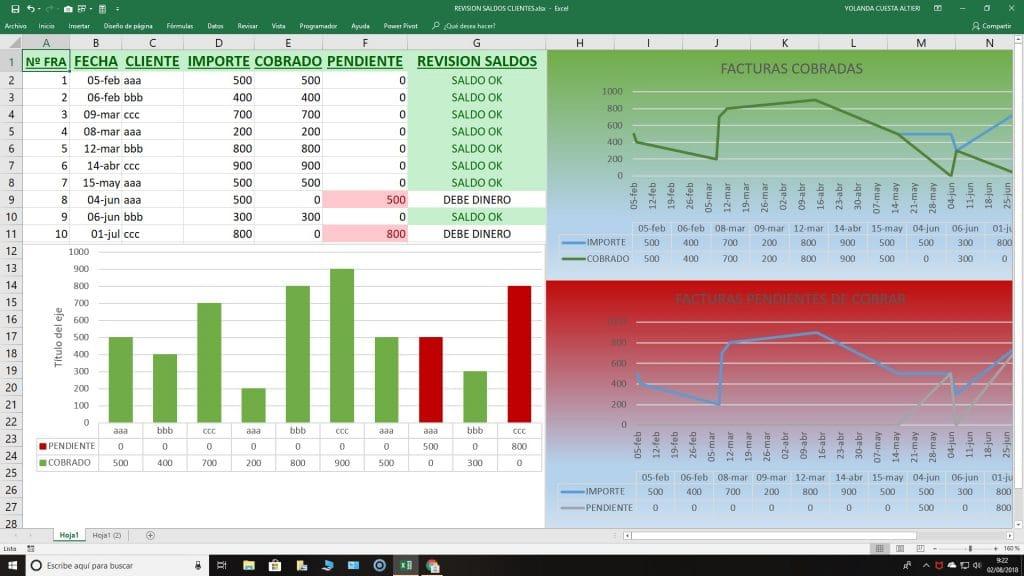 Excel pagos facturas para el control de cobros a clientes