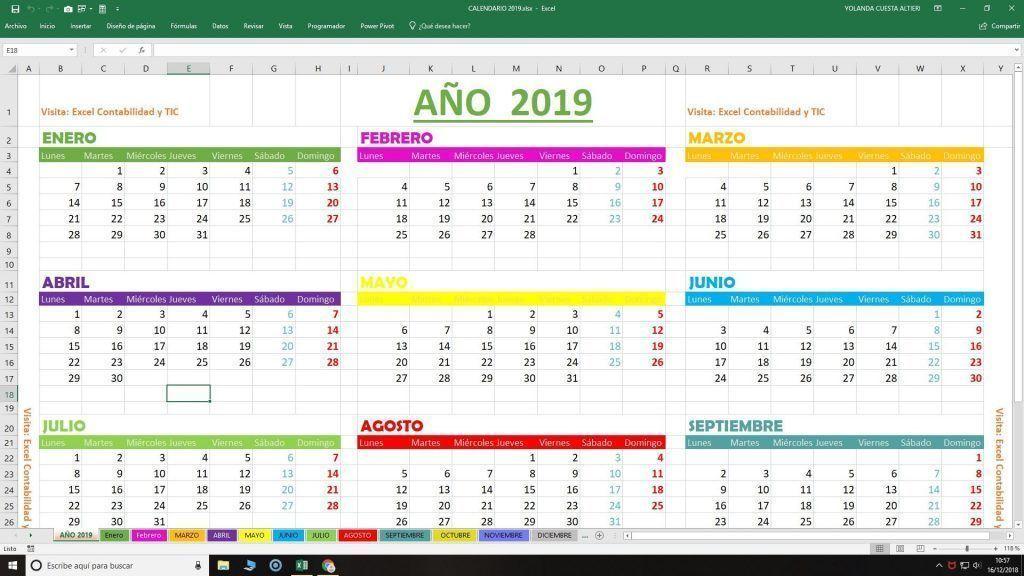 Calendario 2019 en Excel GRATIS Listo para imprimir