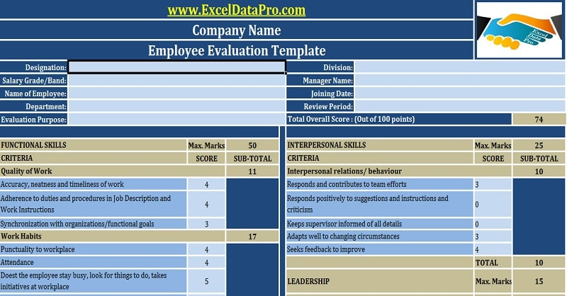 Download Employee Evaluation or Employee Performance Evaluation