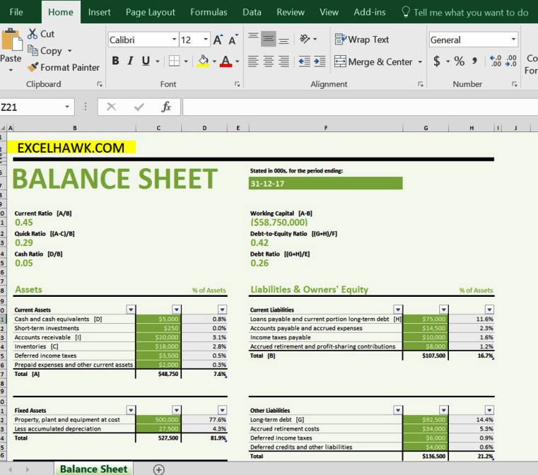 Balance Sheet With Formulas In Excel Template For Excel 2016