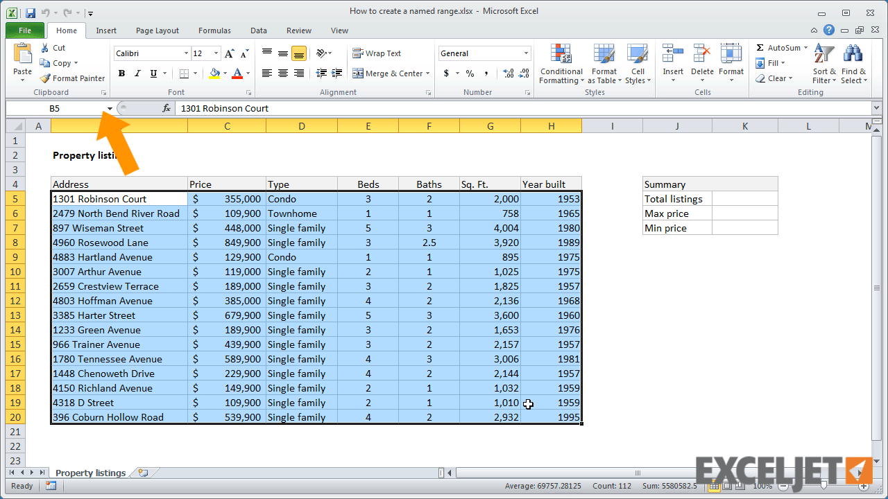 Name The Range Of Data In Excel From The Video How To Create A Named  Download