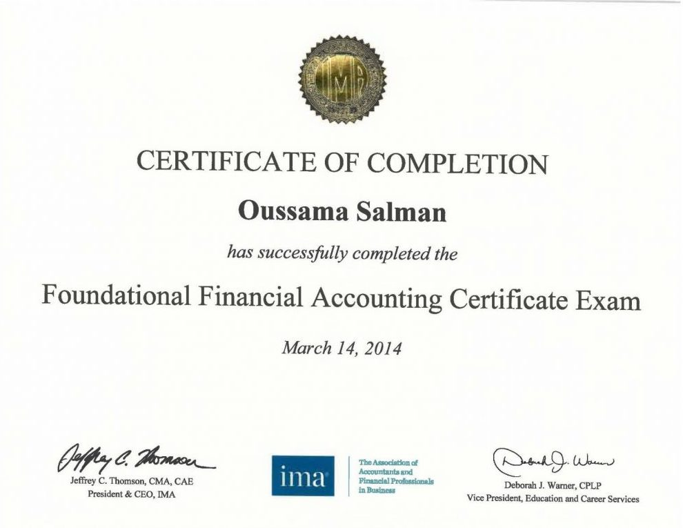 FFAC - Foundational Financial Accounting Certificate from IMA USA