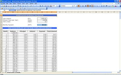Amortization Schedule Calculator | Excel Templates