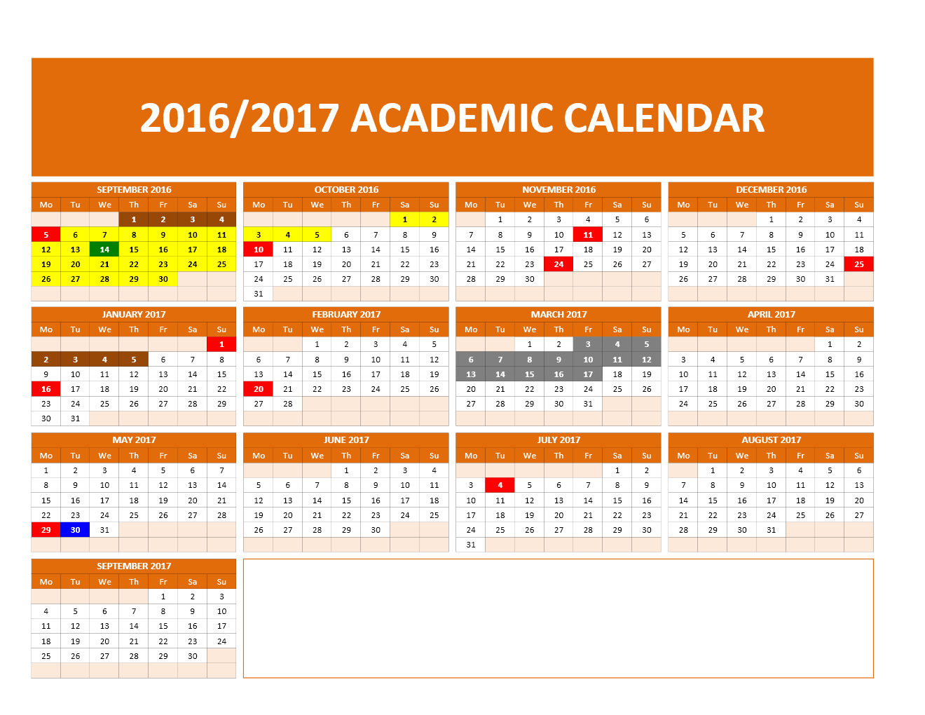 New School Academic Calendar Fall 2016 Academic Calendar 2016 2017 University Of South Alabama 3 Month Calendar Excel Calendar Template 2016